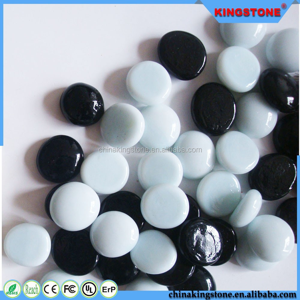 Decorative Glass Coating : Black and white glass gems for wall coating home