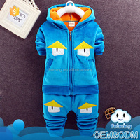 Wholesale children clothing newest baby products top quality winter child 2 piece set hooded fancy children clothing set