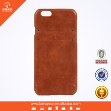 """Hot selling genuine leather with card slot back side 4.7"""" I phone 6 mobile phone cover case"""
