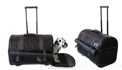 PU pet carrier outdoor pet bag with wheel