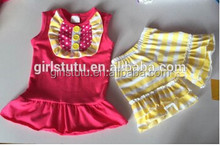 Beauty Cotton Kids Fashion Sleeveless T-shirt Matching Casual Stripe Short Wholesale Kids Clothes