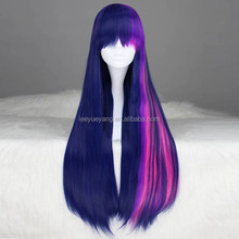 My Little Pony long straight red and purple cosplay wig