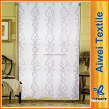 Slub Polyester Embroidery Grommet Curtain