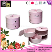 custom fashion round pink leather cosmetic gift box