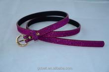 Young Boys and girls fashion purple col glitter dress belt
