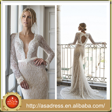 RIKI-04 Charming Champagne Formal Party Bridal Gowns 2105 Custom Made Keyhole Back Appliqued Deep V-Neck Beach Wedding Dress