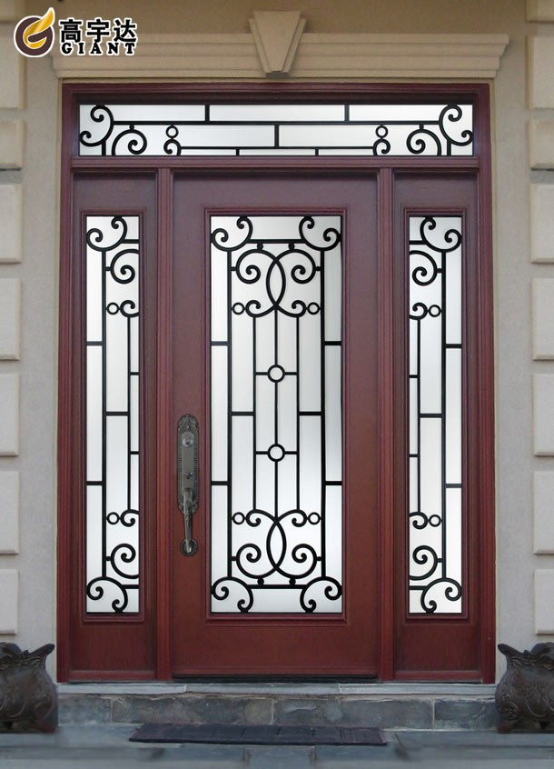 Modern house designs flat top grill iron glass exterior for Entrance door design for flats