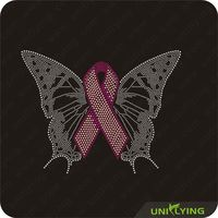 Butterfly with iron on rhinestone pink ribbon transfers
