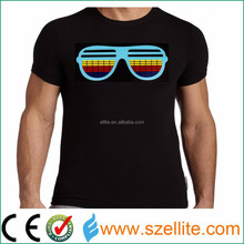 2015 fasionable party dancing sound reactive led tshirt