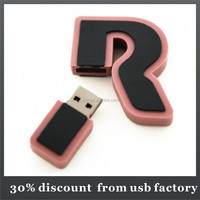 gift 8GB letter shape pvc usb flash drive
