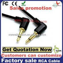 2ft 3.5mm single mono cable male to male 90degree plug (gold plated) aux cable