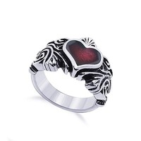 Fashion Vintage Stainless Steel Red Pearl Heart Ring for Gift