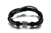 Handmade High Quality Two Tone Mens Leather Bracelet with Simple Power Stainless Steel Clasp Jewelry
