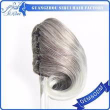 Short style synthetic hair bun grey drawstring ponytail, hair band ponytail, hair braid ponytail