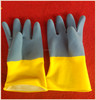 Bi-color yellow and blue color safety acid latex gloves industrial latex glove work protective wholesale gloves factory