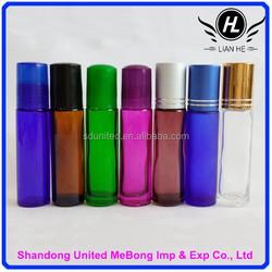 Hot sale 10ml clear/amber/blue/purple/green glass eye essence oil bottle with roller ball