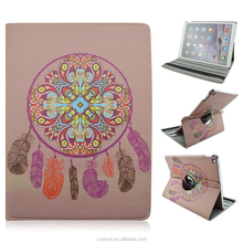 Brown Skin Dream Catcher Design 12.9inch Folio Stand 360 Rotating PU Leather Cover Case For iPad Pro with Elastic Belt