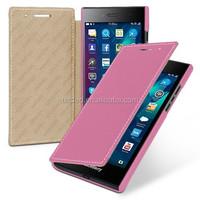 TETDED Premium Leather Case for BlackBerry Leap 4G LTE STR100-1 STR100-2 -- Dijon II (LC: Pink)