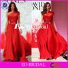 ST920 Hot Sale One Shoulder Beaded Bling Red Silk Turkish Evening Dress 2015