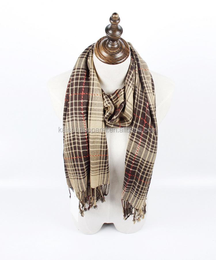 fashionable cheap scarf yarndyed checked scarf plaid shawl