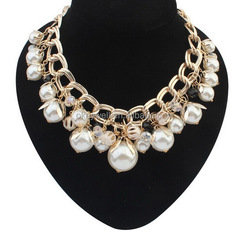 N122 Free shipping China artificial jewellery Cheap statement beads accessories Beautiful gold chain pearl women necklace design