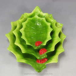 wholesale decorative leaf shape hotel use ceramic salad fruit plate