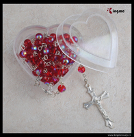 Religious costomize plastic roasry gift box,acrylic beads rosary necklace gift box