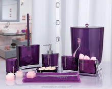 2015 New Design Resin Bathroom Accessories Set 7pcs, trash, toothbrush rack, tumbler, toilet brush with holder, tray, soap dish