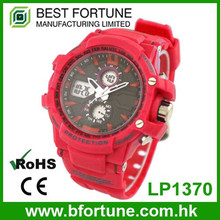 LP1370 Red Plastic ABS Case 3 hands quartz with digital movt stainless steel Case back Multifunction custom wrist watch