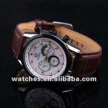 Fashion automatic mechanical skeleton mens watch with genuine leather strap