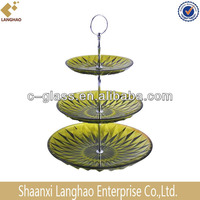 Hand Pressed Green Solid Color 3 Tier Fruit Tray