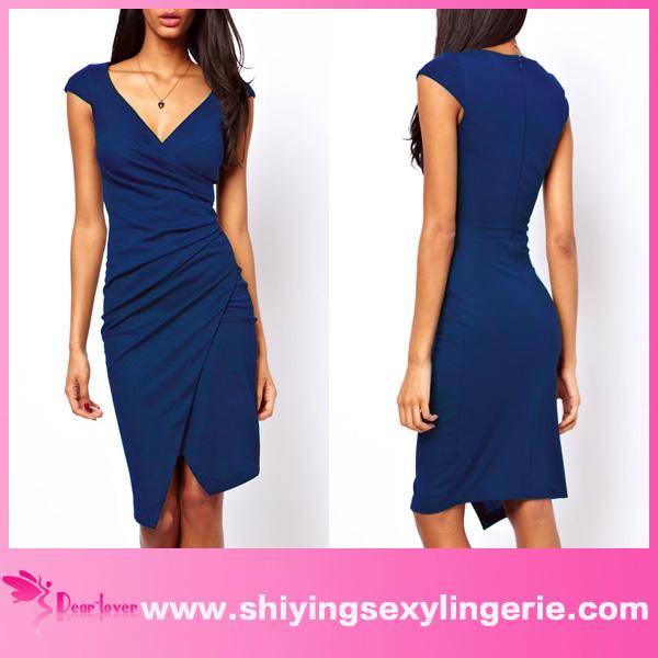 caliente venta de moda <span class=keywords><strong>azul</strong></span> envuelva acanalada vestido midi