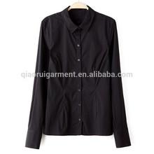 negro mujer de algodón del spandex slim fit blusa de manga larga camisetas