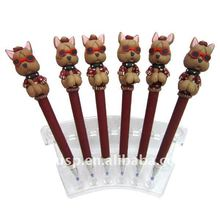 Smart dog shaped popular style polymer clay pen Kawaii dog ball pen
