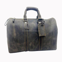Vintage genuine leather men travel bag duffel handmade leather gym bag