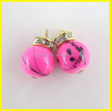 Cute Round Charms With Glass Crystal Rhinestone For Decoration