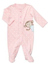new 2015 wholesale karters baby clothes with little monkey 100 cotton fabric prices baby romper