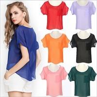 C57341S European fashion style solid color women blouses