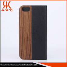 Shock proof bamboo wood and PU leather cell phone case for iphone