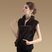 girl's new style fashion mink fur knitting vest and knitted fur gilet and rabbit fur dress