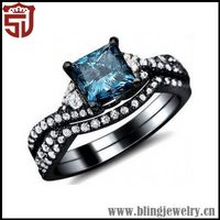Low Price Top Sell Gemstone Black Silver Party Favors Ring