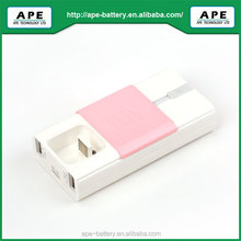 2 USB Output ports+Built-in output cable 5200mAh universal portable Power Bank for Smart phone and Tablet PC