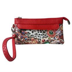 canvas print bag manufactory make digital print leopard grain jewelry clutch lady bag