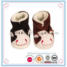 New blue coral fleece embroidery kids winter warm slippers