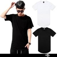 Wholesale custom long plain elongated t shirt clothing manufacturers overseas