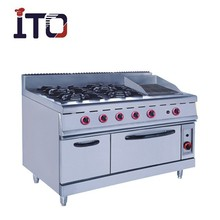 Freestand 700&900 Series Commercial 4 Burners Gas Range With Lava rock grill&Oven