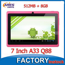 "Best Quad Core A33 7 Inch Tablet, HD Capacitive Touch Screen Android 4.4 Tablet PC,Colors Option 7"" Tablet Q88"
