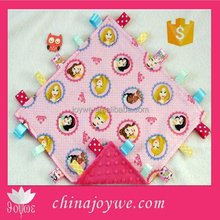 Princess Flannel and Pink Minky Tag Taggie Security Blanket, Baby Toddler