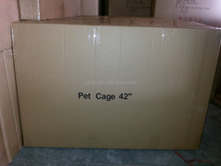 large steel dog cage with plastic tray