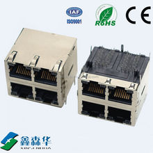Double row 2 port Shield Side entry RJ45 Plug With Magnetics Modular